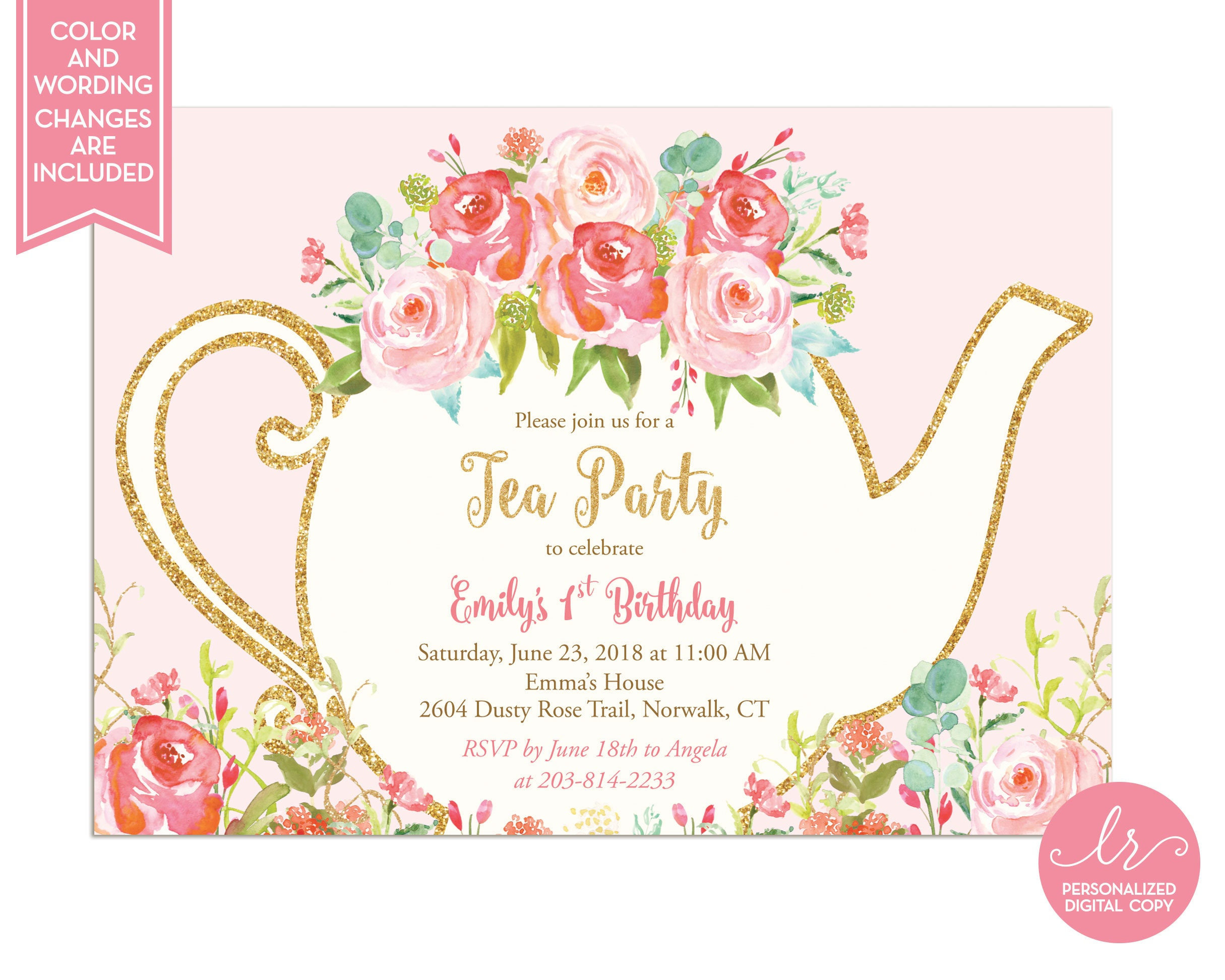 Girls Tea Party Invitation Tea Party Birthday First