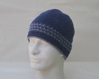 Men's Blue and Grey Beanie Crochet Knit Hat Toque Warm Winter Merino Wool Unisex Fall Prussian Blue Herringbone Stripe Watch Cap