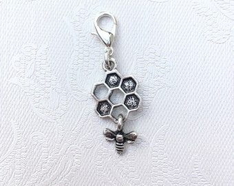 Progress Keeper with Bee and Honeycomb Silver Toned Charm / Crochet Stitch Marker / Zipper Pull
