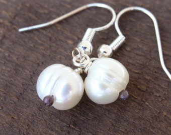 White ivory genuine freshwater pearls, handmade peadpins dainty drops silver earrings