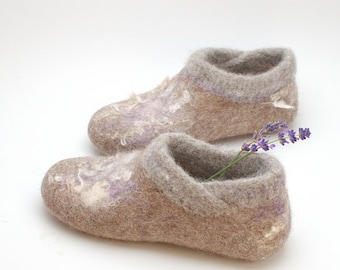Wet felted slippers booties with knitted top and hint of lavender