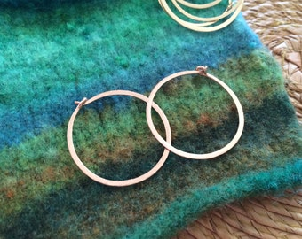 "Hammered Rose Gold Hoops Small 1"" Classic Gold Hoop Earrings 14kt Rose Gold Fill Hoops Wire Jewelry Pink Gold Hoops"