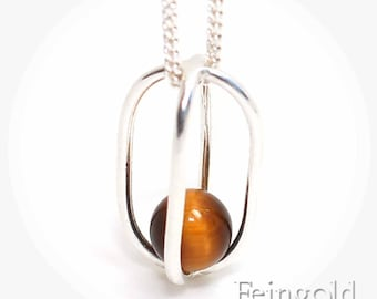 Tigers eye - November birthstone - Sterling Silver Necklace with Floating Tiger Eye - Sterling Silver Chain - Free US Shipping