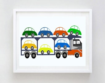Lorry loaded with new cars print - cars, nursery decorating ideas, truck, transporting cars, baby nursery decor, baby boy nursery