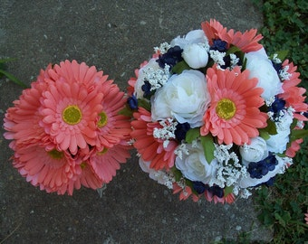 Navy and Coral Wedding Flowers bouquets corsages and boutonnieres