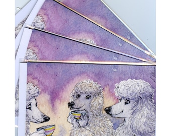 4 x white poodle dog greeting cards having a cup of tea friends meeting up for the cup that cheers but does not inebriate toy standard cuppa