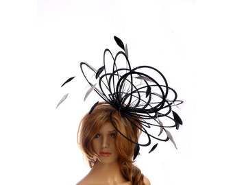Black and Silver  Large Feather Fascinator Hat - Perfect for a Mother of The Bride, ladies day - choose any colour feathers and satin