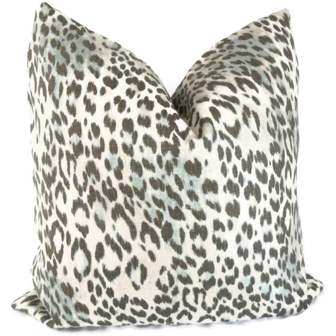 Kravet Aqua Gray Brown Decorative Leopard Pillow Cover