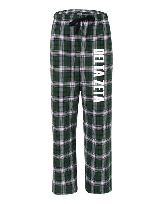 Delta Zeta Flannel Pants, DeeZee Loungewear, Sorority Letter Flannel Pants, Greek Apparel, Sorority Clothing, Officially Licensed