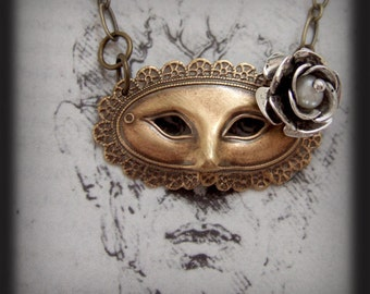 mask necklace, flower necklace, MASQUERADE BALL,phantom of the opera inspired Victorian theater mask necklace with 3D silver flower