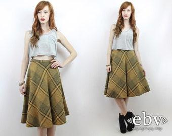 Plaid Skirt High Waist Skirt High Waisted Skirt Schoolgirl Skirt Wool Skirt Plaid Midi Skirt Vintage 70s Yellow + Grey Plaid Knee Skirt XS S
