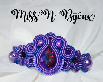 Purple soutache bracelet