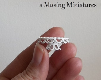 White Filigree Metal Cake Stand in 1:12 Scale for Dollhouse Miniature Bakery Buffet