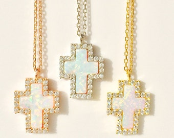 Cross Necklace, White Cross Necklace, Opal Cross Necklace with genuine cubic zirconia my exclusive design a great gift to give or to keep