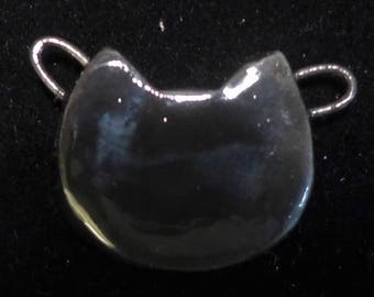Ceramic Cat Pendant Necklace on Silver Metal Chain