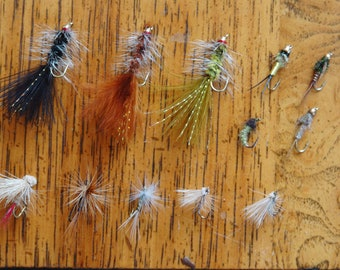 Great Gift for a Fisherman, Fly fishing Twelve-pack of Trout flies, Universal Selection