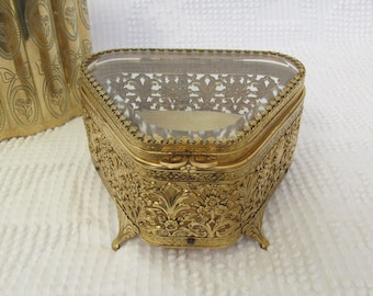 Vintage gold ormolu jewelry box with beveled glass fan shape trinket hinged casket filigree vanity mid century Hollywood regency keepsake