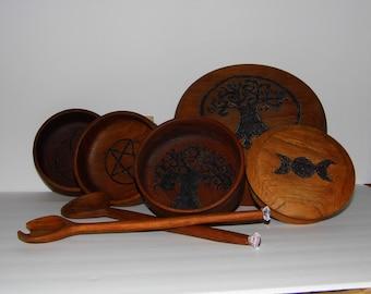 Wood Altar Bowls - Occult -altar tools- Pentacle Triquetra Triple Moon Goddess Tree of Life -More Pagan Goodies n Shop