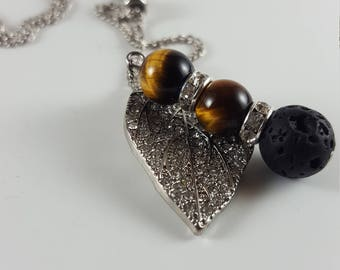 Essential Oil Lava Diffuser Necklace, Black Lava Rock & Tiger Eye. Aromatherapy. Women jewelry. Beaded necklace. Harmony. Courage. Strength