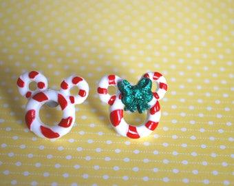 Mickey Mouse Earrings , Christmas Earrings, Mickey Minnie Candy Cane Earrings -- Mickey Mouse, Minnie Mouse, Mouse Ears