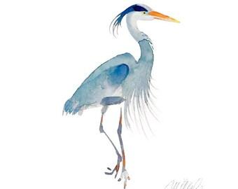 Crane, Blue Heron Giclee Print Watercolors Wall Decor Art Print Animal Art Bird Watercolor fine Art Prints