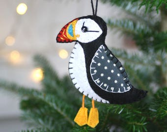 Puffin Christmas ornament, Felt Christmas ornament, Felt bird ornament, Handmade bird Christmas ornament, Bird ornament, Irish ornament