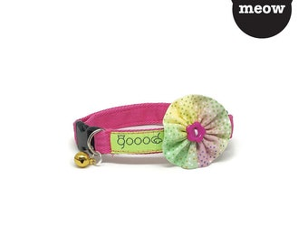 GOOOD Cat Collar | Bloomie - Funky Disco | 100% Multi Colors Cotton Fabric | Safety Breakaway Buckle