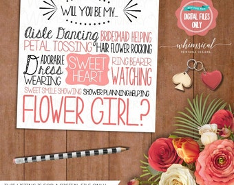 "Be My Flower Girl Card ""Aisle Dancing Sweetheart"" (Printable File Only) Be In Our Wedding, Wedding Party Card, Ask Flower Girl, Flowergirl"