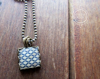 Moroccan tile necklace, Islamic necklace, Islamic folk art jewelry, Charm necklace, Islamic Pottery design, Pendant, Geometric jewelry