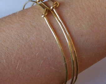 Gold Bangles - THREE Knotted Hammered Bangles - Bangle Bracelets - Stacking Bangles - Made to Order in Brass Copper or German Silver