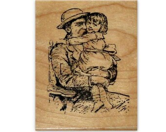 Father's Love mounted rubber stamp, daughter, dad, Grandpa and girl, old fashioned, vintage style, days gone by, Crazy Mountain Stamps #1