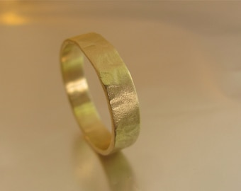 14k solid yellow gold wedding ring for man.Handmade ring with unique texture.Free shipping
