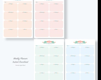 Undated Weekly Planner Printable - Week Plan - Weekly Schedule - Weekly Organizer - Planner Download - flower/ Instant download