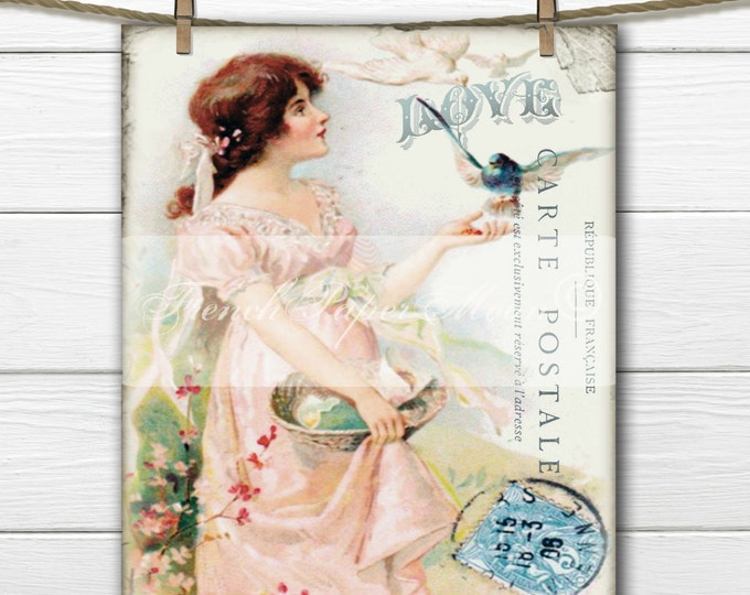 Digital Victorian Girl, French Digital Postcard, French Pillow Graphic, Transfer Image Printable