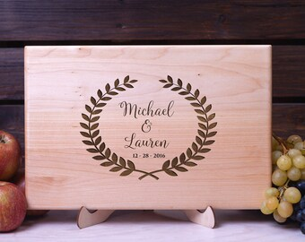 Personalized Cutting Board Laurel Leaves cutting board Wedding gift Housewarming gift Anniversary Gift for Couple Custom Engraved Monogram