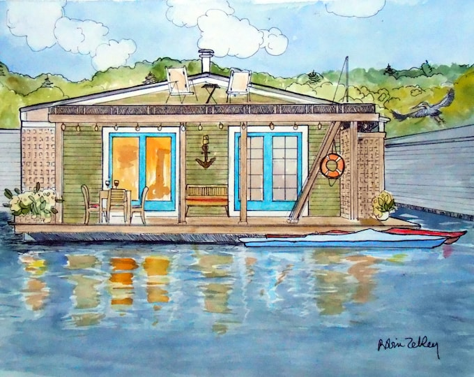Custom House Portrait, Houseboat Painting, Custom Home Portrait, Boat Portrait, Watercolor house portrait Gift Certificate