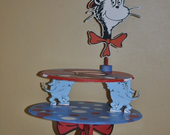 Dr.Seuss Inspired Cupcake and cake stand, Green eggs and ham, cat in hat, Dr Seuss