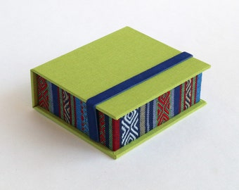 Instax Square SQ Photo Box | Display Box | Handmade using imported bookcloth | Graduation Gift | Keepsake Album | Blue ethnic and Lime Green