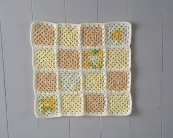 RTS Granny squares crochet layering baby blanket in cream, yellow and buttermilk/ handmade posing blanket photo prop