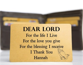 Personalised Wallet Insert Card. Inspirational Prayer Mini Gift - Dear Lord