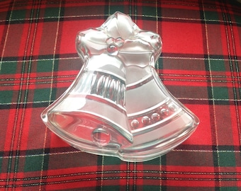 Glass Christmas Bells Trinket Box/Jingle Bells/Glass Lidded Box/ Festive Candy Box/Holiday Decor
