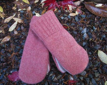 Wool Sweater Mittens, Women's Medium Size, Made from Eco-friendly Felted Wool Sweaters