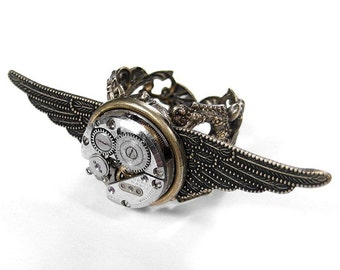 Steampunk Jewelry Ring Vintage Ruby Jewel Watch Textured WINGS Wedding Punk Rocker Biker Ring BURNING MAN - Steampunk Jewelry by edmdesigns