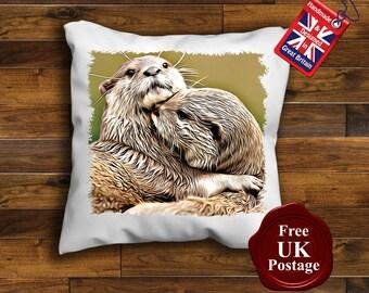 Otter Cushion Cover, Otters Cushion, Choice of sizes, Handmade