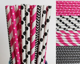 Hot Pink and Black Paper Straw Mix-Polka Dot Straws-Hot Pink Straws-Chevron Straws-Black Straws-Striped Straws-Party Straws-Mason Jar Straws