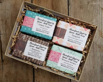 Mothers Day Gift - Soap Gift Set - Goats Milk Soap -Gift Set of 4 - Bath Gift Set - Natural Soap - PALM FREE SOAP - Gift for Her