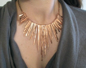 Copper Fringe Necklace - Rough Edge Athena - Handmade in my studio in Austin,Tx- handmade in Austin, Tx