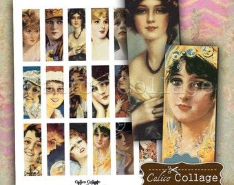 Pretty Faces, Mircoslide Images, Collage Sheet, 1x3 Inch Images, Printable Ephemera, Vintage Images, Printable Collage, 1x3 Inch Collage