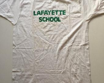 70's Derby paper thin tshirt Vintage Thin white t-shirt deadstock t shirt Lafayette school small medium
