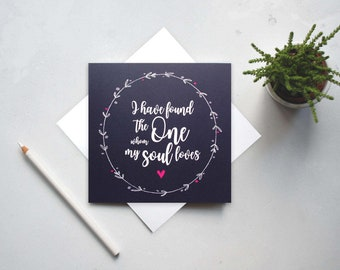 I have found the one whom my soul loves - Song of Solomon 3:4 - Mr and Mrs - Bible verse card - Christian Cards - Wedding Card - (GC65)